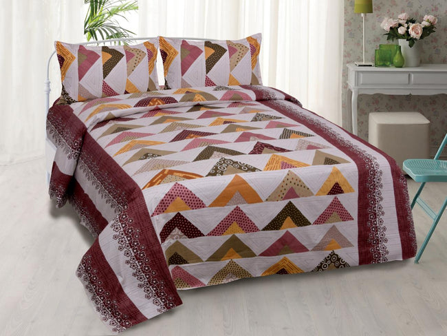 Designer Multi Color Triangle Print King Size Cotton Bed Sheet