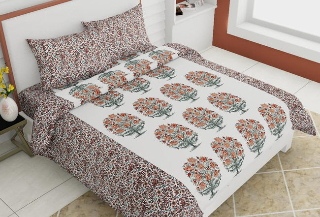 Off White Flower Print King Size Cotton Bed Sheet