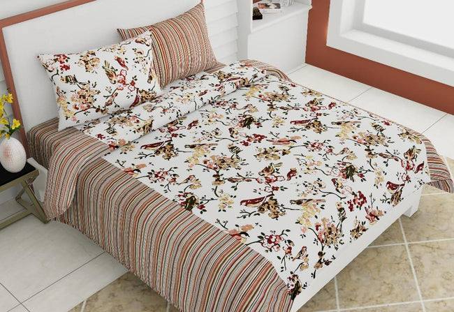 Multi Color Bird Print King Size Cotton Bed Sheet
