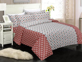 Copper Red Checks Print King Size Cotton Bed Sheet