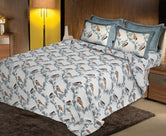 Grey Bird Print King Size Cotton Bed Sheet