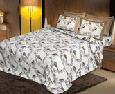 Brown Bird Print King Size Cotton Bed Sheet