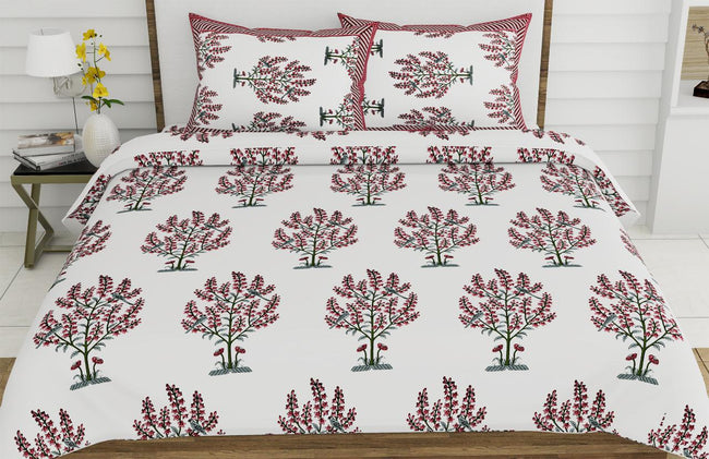 Beautiful Pink Bush Print XL King Size Pure Cotton Bed Sheet