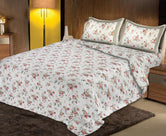 Beautiful and Trendy Beige base Pink Flower Print King Size Cotton Bed Sheet