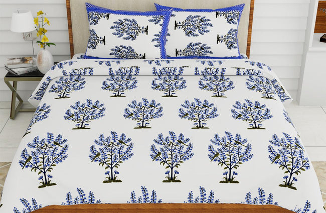 Blue Plant Print King Size Cotton Bed Sheet