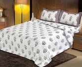 Off White purple Flower Print King Size Cotton Bed Sheet