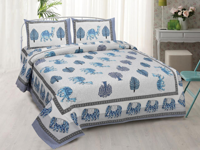White base Blue Animal Print King Size Cotton Bed Sheet