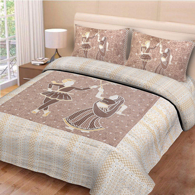 Brown Human Print King Size Cotton Bed Sheet