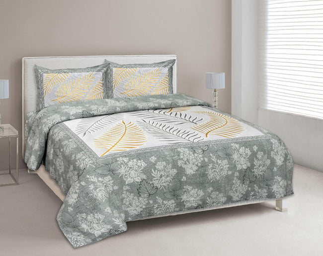 Green Leaf Print King Size Cotton Bed Sheet