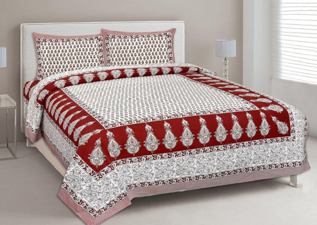 Red Butta Print King Size Cotton Bed Sheet