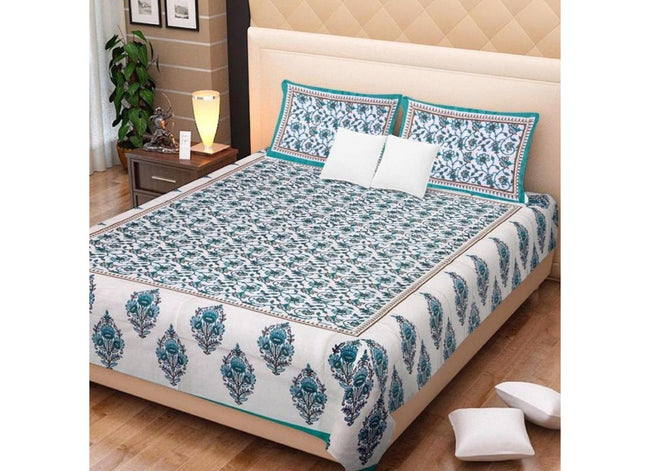 Cream base green Flower Print King Size Cotton Bed Sheet