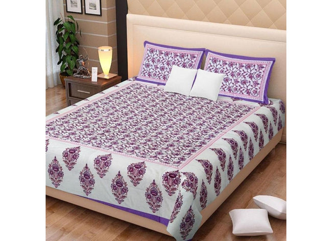 Cream base purple Flower Print King Size Cotton Bed Sheet