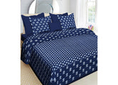 Blue Lotus Print King Size Cotton Bed Sheet