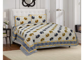 PEACOCK Printed King Size Cotton Bed Sheet