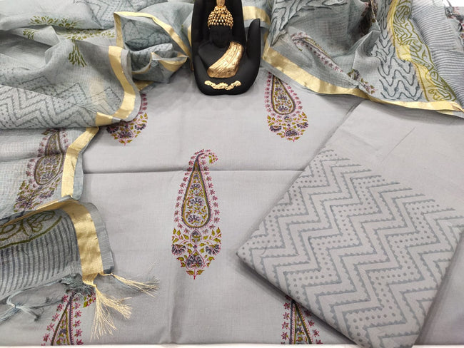 Grey Butta Print Cotton Unstitched Suit Set with Kota Silk Dupatta