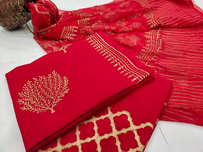 Red Gold Bush Print Cotton Unstitched Suit Set with Chiffon Dupatta