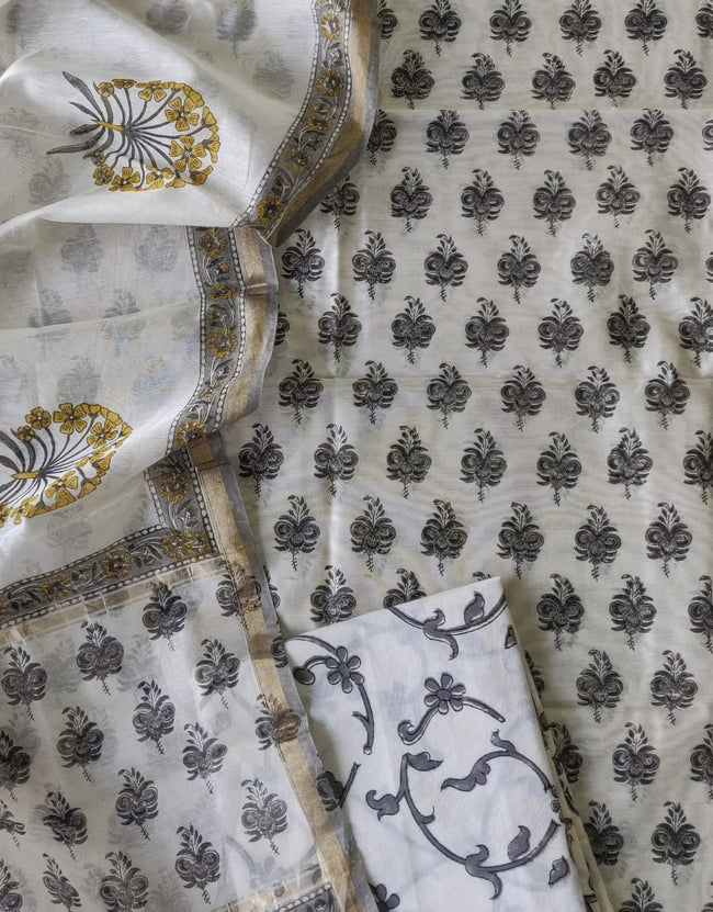 Off White Flower Print Chanderi Silk Unstitched Suit Set with Chanderi Silk Dupatta