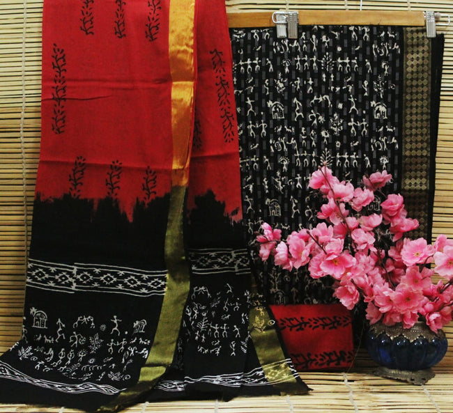 Red & Black Human Print Cotton Handblock Unstitched Suit Set with Mulmul Duppatta