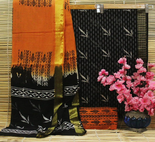 Black & Orange Leaf Print Cotton Handblock Unstitched Suit Set with Mulmul Duppatta