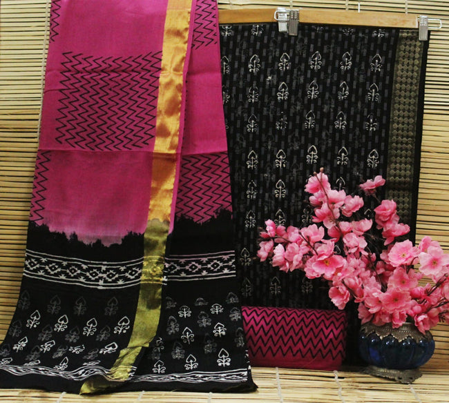 Black & Pink Flower Print Cotton Handblock Unstitched Suit Set with Mulmul Duppatta