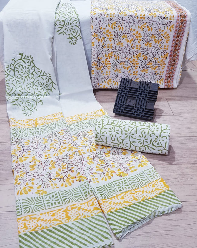 White & Yellow Flower Print Cotton Unstitched Suit Set with Cotton Duppatta