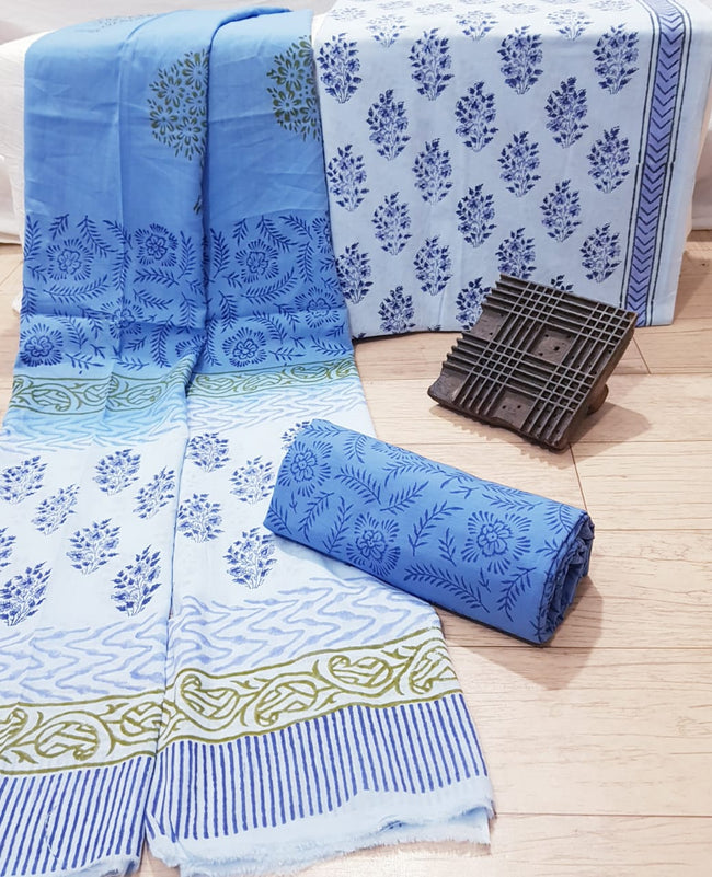 Blue Bush Print Cotton Unstitched Suit Set with Cotton Duppatta