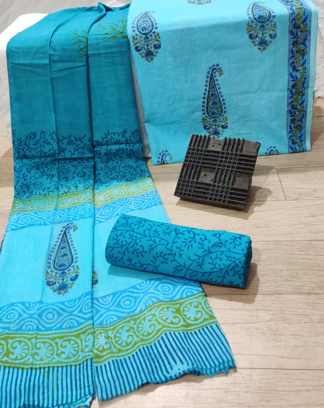 Sky Blue Butta Print Cotton Unstitched Suit Set with Cotton Duppatta