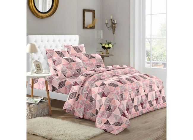 Pink Diamond All over Printed Extra Large King Size Twil Cotton Bed Sheet 108*108