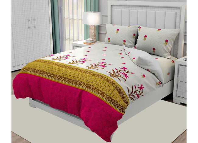 Off white and Pink Flower Print  King Size Twil Cotton Bed Sheet