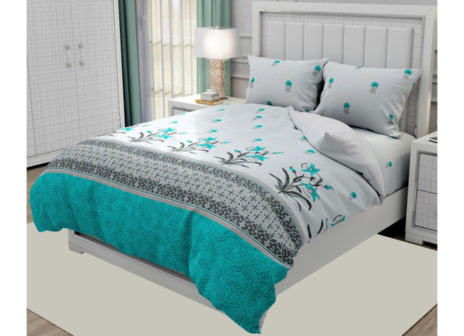 Grey and Turquoise  Flower Print  King Size Twil Cotton Bed Sheet