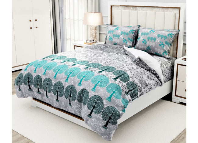 Designer Grey and Green Tree Print King Size XL Premium Twil Cotton Bed Sheet