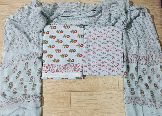 Light Grey Flower Print Cotton Unstitched Suit Set with Chiffon Dupatta