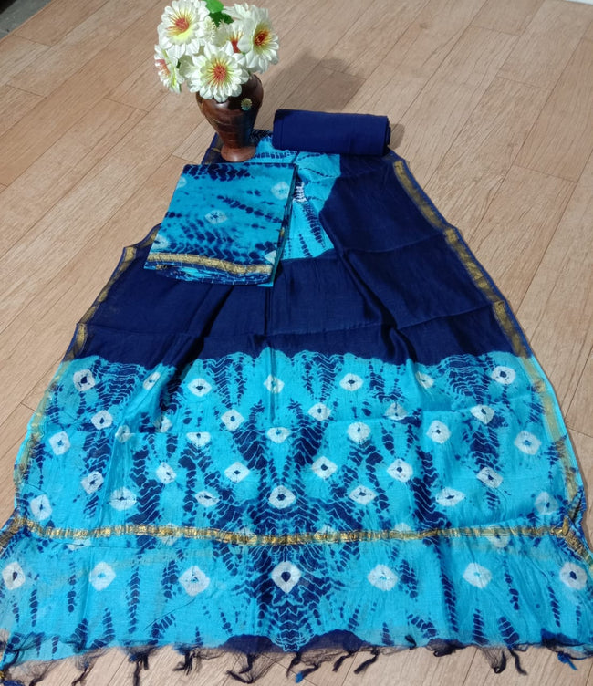 Blue Abstract Print Chanderi Silk Unstitched Suit Set with Chanderi Silk Dupatta
