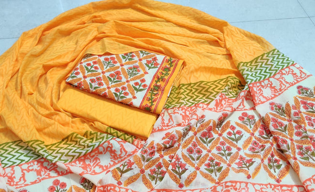 Yellow Flower Print Cotton Unstitched Suit Set with Cotton Duppatta