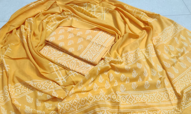 Yellow Butta Print Cotton Unstitched Suit Set with Cotton Duppatta