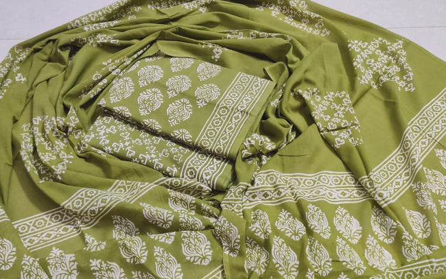 Green Flower Print Cotton Unstitched Suit Set with Cotton Duppatta