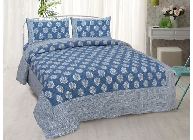 Blue Buta Print King Size very soothing Cotton Bed Sheet