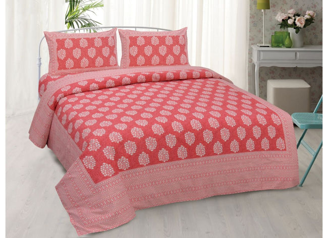 Pink Buta Print King Size very soothing Cotton Bed Sheet