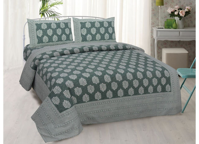 Green Buta Print King Size very soothing Cotton Bed Sheet