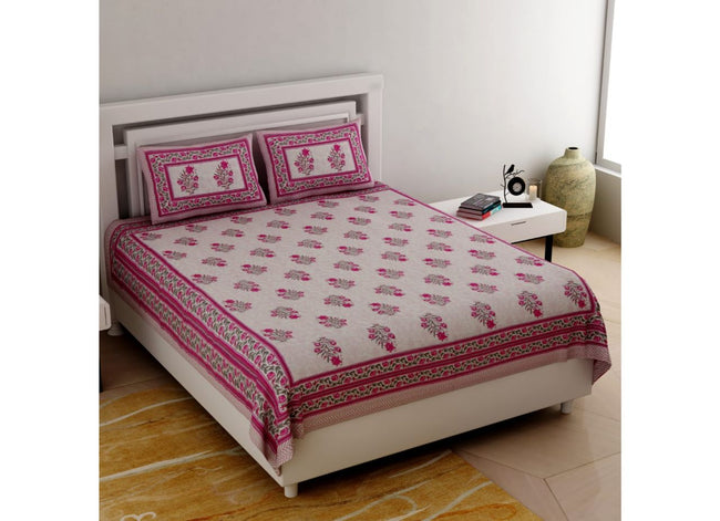 Pink all over Flower Print King Size very Beautiful Cotton Bed Sheet