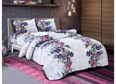 Pink and Voilet Flower Print King Size Twil Cotton Bed Sheet