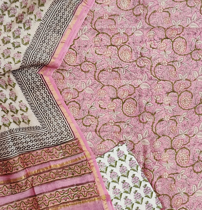 Pink Flower Print Chanderi Silk Unstitched Suit Set with Chanderi Silk Dupatta