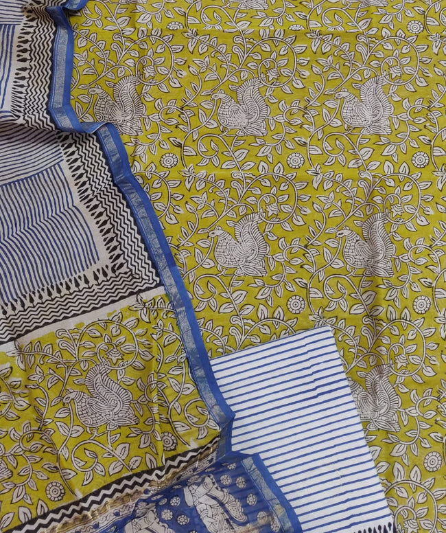 Yellow Peacock Print Chanderi Unstitched Suit Set with Chanderi Dupatta