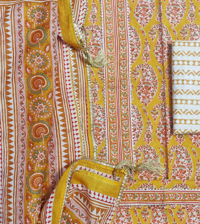Yellow Butta Print Cotton Designer Unstitched Suit Set with Cotton Duppatta