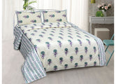 Beautiful Green and Purple Flower Print King Size Cotton Bed Sheet