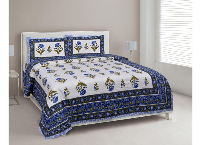Beautiful Royal Blue Mughal Flower Print King Size Cotton Bed Sheet
