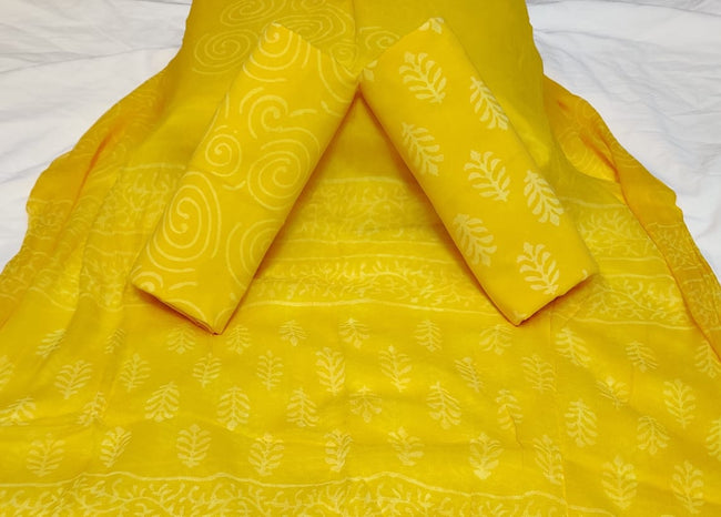 Yellow Leaf Print Hand Block Cotton Unstitched Suit Set with Chiffon Dupatta