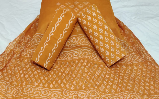 Light Brown Leaf Print Hand Block Cotton Unstitched Suit Set with Chiffon Dupatta