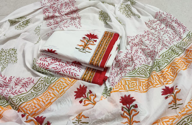 White & Red Flower Print Hand Block Cotton Suit Set with Cotton Duppatta