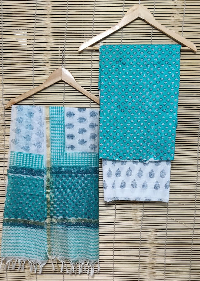 Sea Green Leaf Print Cotton Unstitched Suit Set with Kota Silk Dupatta